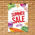 Empty advertising poster (banner) – mockup template on gray back